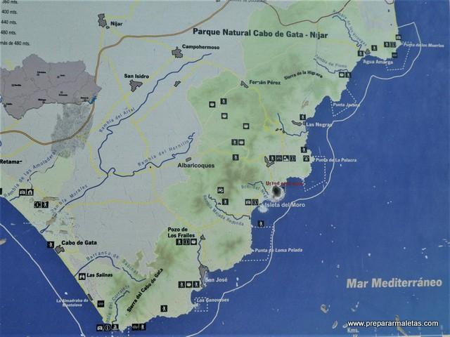 mapa informativo sobre Cabo de Gata