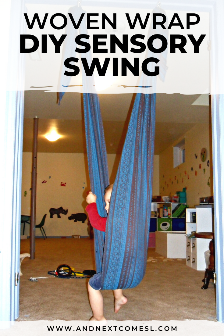 How to make a DIY indoor sensory swing for kids using a woven wrap baby carrier