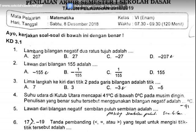 Soal Ulangan Matematika Kelas 6 Semester 1 K-13
