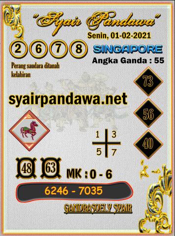 Gambar Syair Pandawa Sgp senin 01 februari 2021