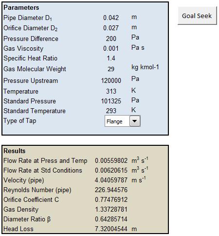 Small-Bore Gas Orifice Meter Flow Calculator   Excel Calculations