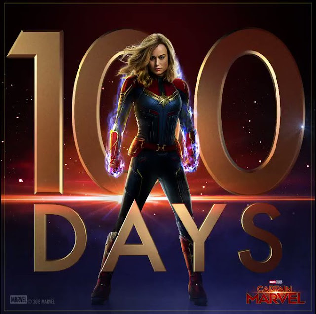 O Twitter Oficial do filme Capitã Marvel, lançou uma imagem para comemorar os 100 dias até a estréia do longa da heroína – Confira!