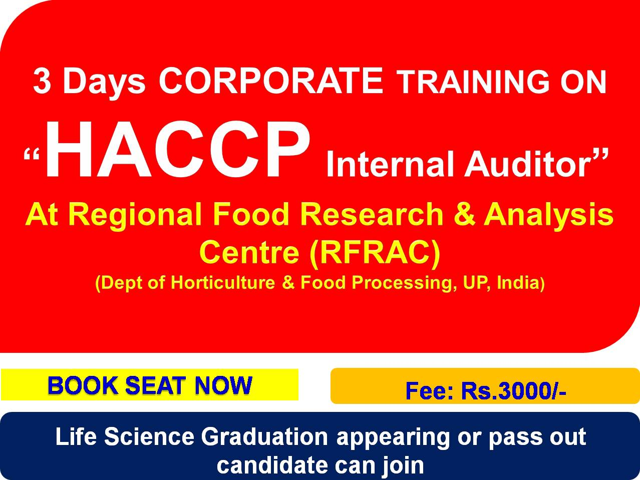 Regional Food Research Analysis Centre Lucknow Haccp
