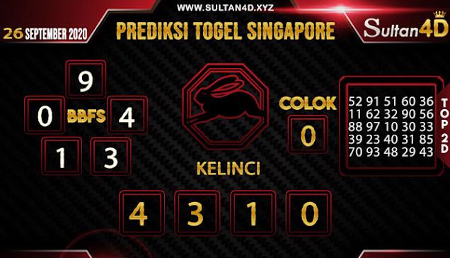 PREDIKSI TOGEL SINGAPORE SULTAN4D 26 SEPTEMBER 2020