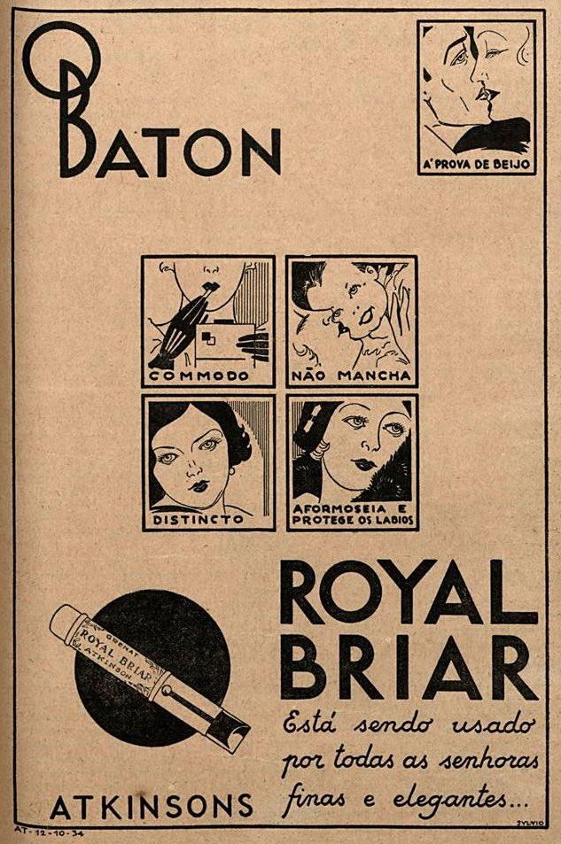 Propaganda antiga do Royal Briar veiculada nos 30 promovendo sua linha de batons
