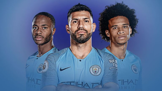 Manchester City Sterling, Aguero and Sane