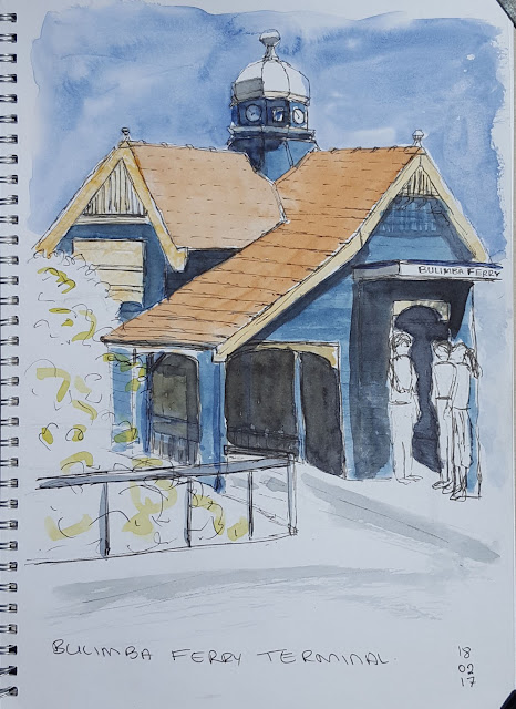 Brisbane City Sketchers at the heritage Bulima Ferry Terminal