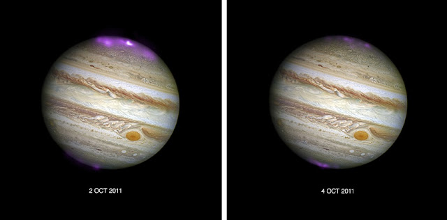 These composite images show Jupiter and its aurora during and after a CME's arrival at Jupiter in October 2011. In these images, X-ray data from Chandra (purple) have been overlaid on an optical image from the Hubble Space Telescope. The left-hand panel reveals the X-ray activity when the CME reached Jupiter, and the right-hand side is the view two days later after the CME subsided. The impact of the CME on Jupiter's aurora was tracked by monitoring the X-rays emitted during two 11-hour observations. The scientists used that data to pinpoint the source of the X-ray activity and identify areas to investigate further at different time points. Credit: X-ray: NASA/CXC/UCL/W.Dunn et al, Optical: NASA/STScI
