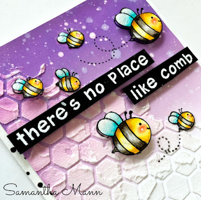 There's No Place Like Comb Card by Samantha Mann for the To Bee or Not To Bee Blog Hop, ink blending, bee pun, cards, #lawnfawn #beepun #prettypinkposh #inkblending #oxideinks