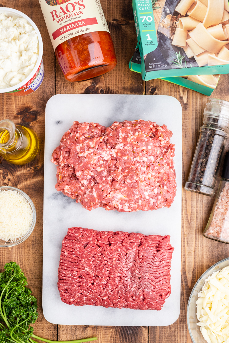 Overhead photo of the ingredients needed to make keto lasagna.