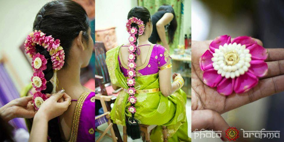 Terrific Pelli Poola Jada Southindian Bridal Hairstyles With Flowers Short Hairstyles For Black Women Fulllsitofus