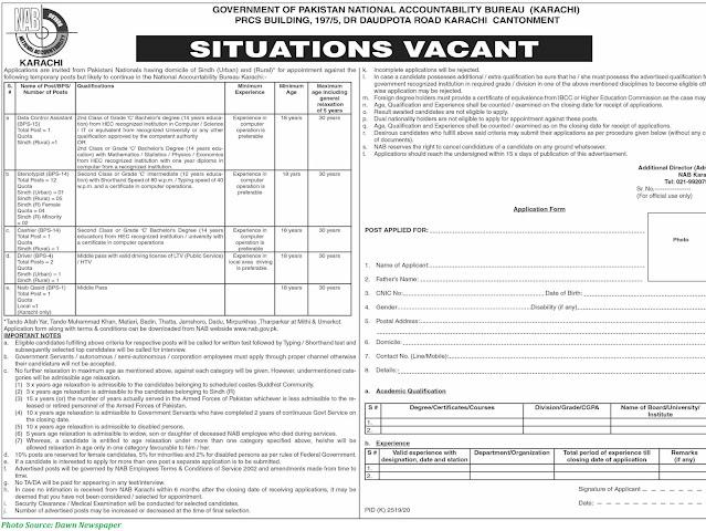 NAB Jobs 2021 - Latest Jobs in National Accountability Bureau March 2021
