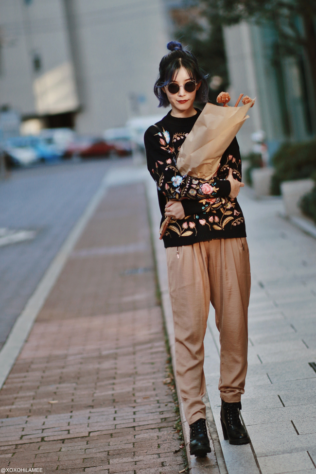 Japanese Fashion Blogger,MizuhoK,20191117OOTD, Sammydress : EMBROIDERY SWEATER, ZARA=satin pants, laceup boots=H&M, sunglasses=zeroUV, and more...