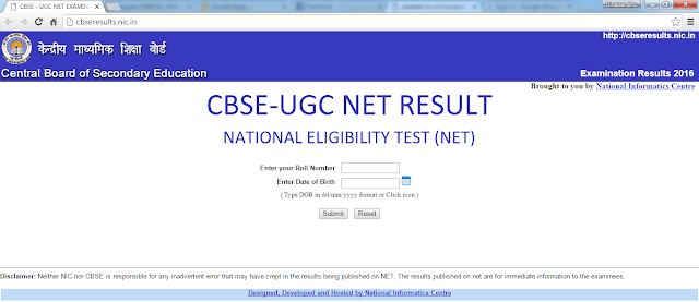result of cbse ugc net examination