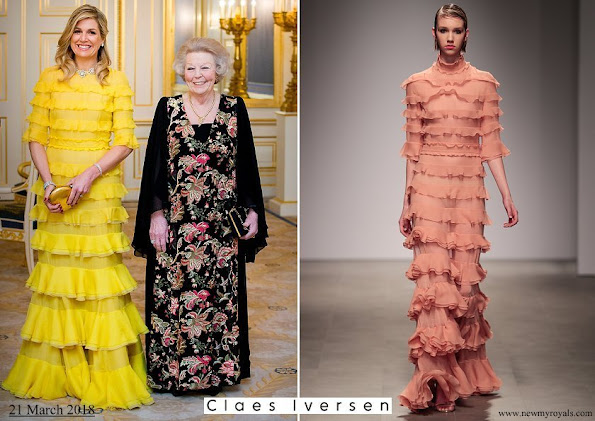 Queen Maxima wore a dress from Claes Iversen Haute Couture SS2017 Collection