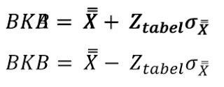 Tentukan batas kendali atas (BKA), dan batas kendali bawah (BKB)