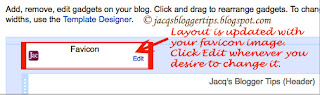 Screenshot to show the custom favicon appearing at blog's Layout: step 6