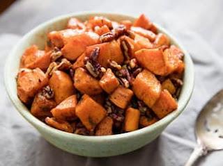 وصفات الحديد الزهر : بطاطا حلوة محمصة بالثوم والمريمية