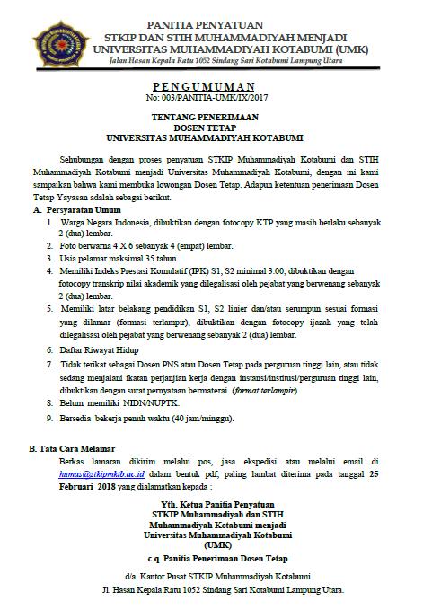 Lowongan Kerja Dosen Tetap Universitas Muhammadiyah Kotabumi