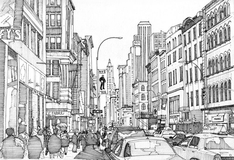 01-401-Broadway-New-York-Tom-Hopkinson-Drawings-of-our-Lives-Depicted-in-Urban-Sketches-www-designstack-co