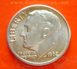 Koin perak kuno dari Amerika tahun 1962