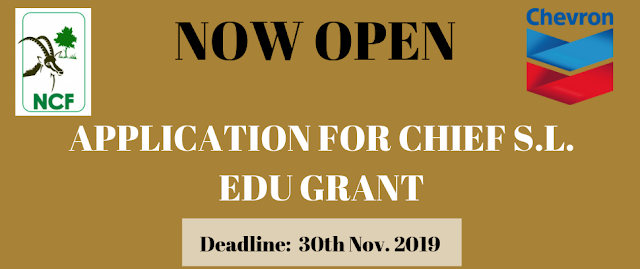 NCF-Chevron Chief S L EDU Research Grant for PhD Programme 2019
