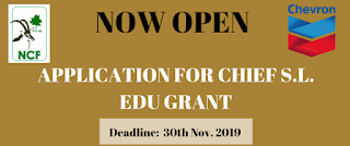 NCF-Chevron Chief S.L EDU Research Grant for PhD Programme 2019