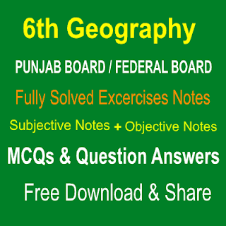 6th Grade Chapter Wise Notes Federal Board Subjective and Objective in PDF