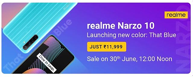 Smartphone Realme Narzo 10 That Blue मे हुई लॉन्च फ्लैश सेल 30 जून को।