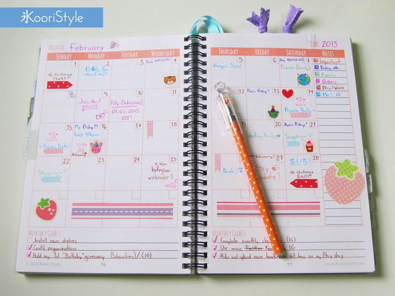 Koori KooriStyle Kawaii Cute Blog Blogging Blogger Planner Printable PDF Etsy Decoration Monthly Weekly Statistics