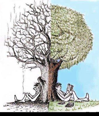 kitap okuyan ve okumayan iki insan, kitap okumanın faydalarını anlatan güzel bir çizim