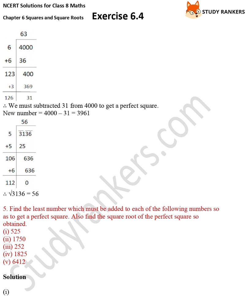 NCERT Solutions for Class 8 Maths Ch 6 Squares and Square Roots Exercise 6.4 12