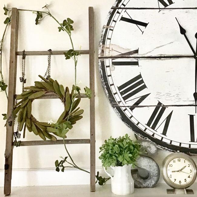 ladder and vintage clock