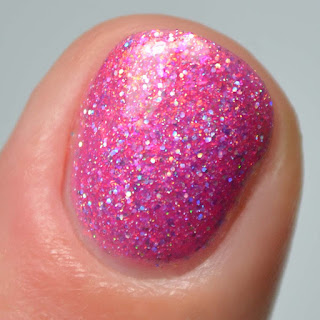 pink holographic nail polish swatch