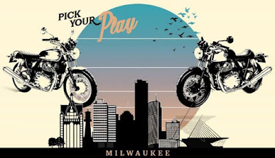 Illustration of motorcycle and Milwaukee skyline.