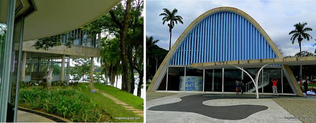 Jardins do Museu de Arte da Pampulha e a Igreja de São Francisco, em Belo Horizonte