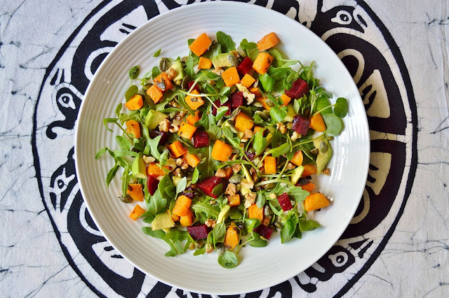 A plate of Butternut Squash Beetroot and Avocado Salad