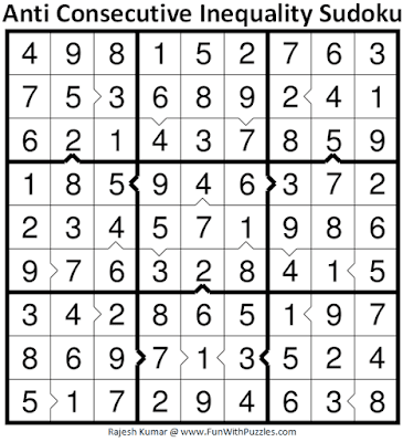 Answer of Anti Consecutive Inequality Sudoku Puzzle (Daily Sudoku League #227)