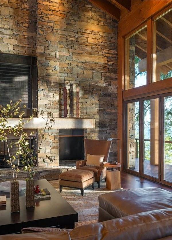 Dise os de sala con paredes de piedra colores en casa - Paredes rusticas interiores ...
