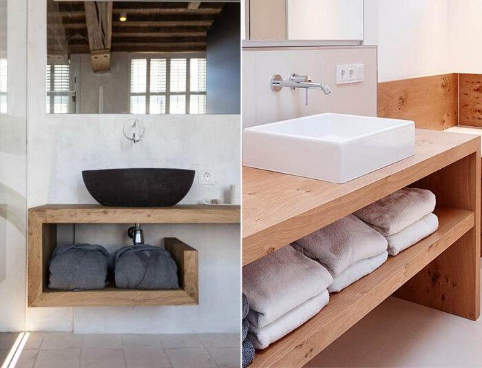 Lavabi con piano in legno massello Xlab