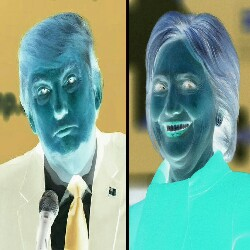 Negative photograph of Donald Trump and Hillary Clinton