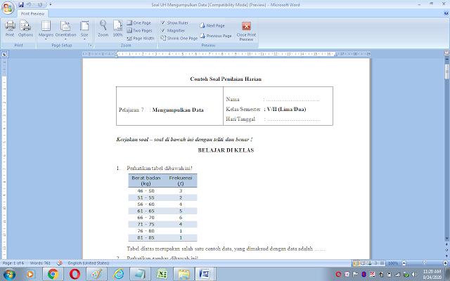 Soal ulangan harian matematika kelas 5 sd/mi: mengumpulkan data