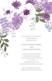 wedding invitation with beautiful purple watercolor flowers
