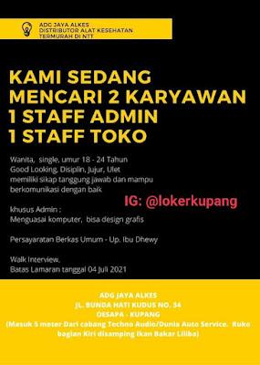 Lowongan Kerja ADG Jaya Alkes Sebagai Staff Admin & Staff Toko