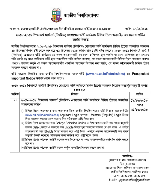 NU Masters Final Year Admission Release Slip Result 2019 Published 2 January 2020