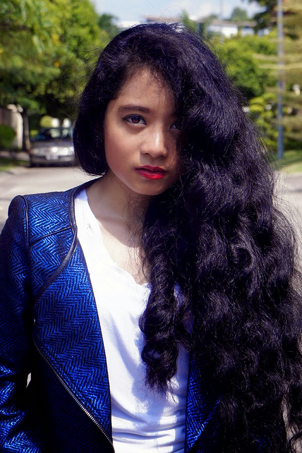 Electric Blue, Zalora Collarless Tweed Biker Jacket, SEA Citizen Sweet Pleat Tee White, Loose Curls, White and Blue outfit