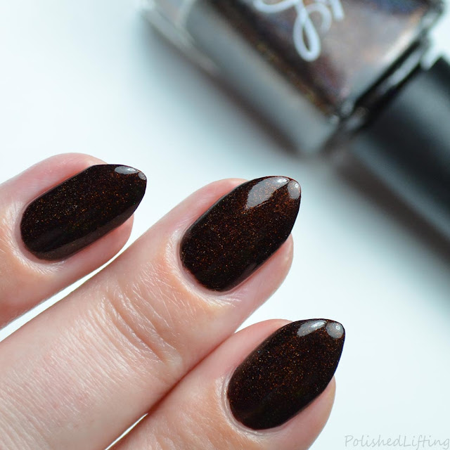 blackened chocolate holographic nail polish
