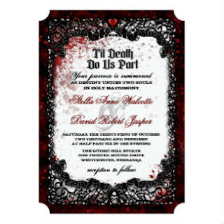 Blood Splattered Halloween Wedding RECEPTION INFO Card