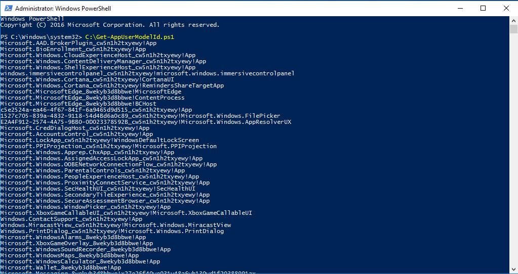 Hướng dẫn lấy danh sách AppUserModelId của các ứng dụng đã cài đặt trên Windows 10