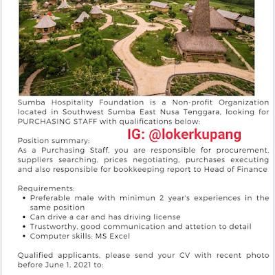 Lowongan Kerja Sumba Hospitality Foundation Sebagai Purchashing Staff